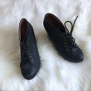 Jeffrey Campbell black leather wedge heels